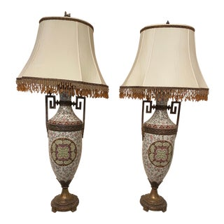Tall Lamps Beaded Shades - A Pair For Sale