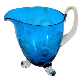 1960s Vintage Hand Blown Blue Glass Pitcher For Sale