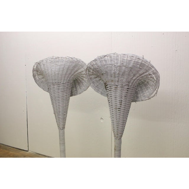 Wicker Modern White Wicker Lily-Shaped Tulip Planter Stands - a Pair For Sale - Image 7 of 11