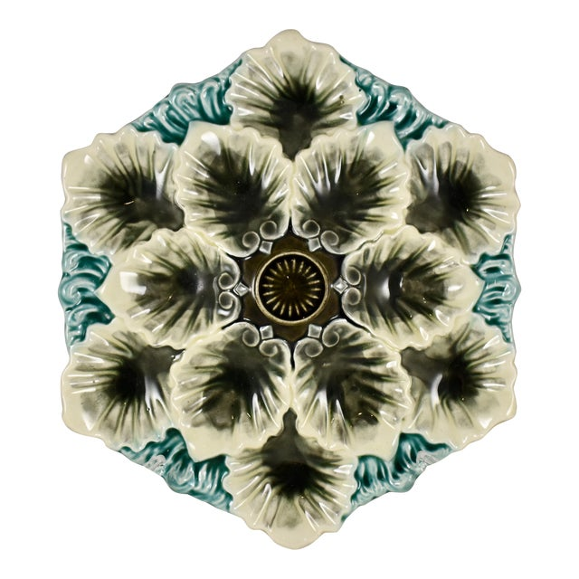 Orchies French Majolica Handled Oyster Plate - Image 1 of 9