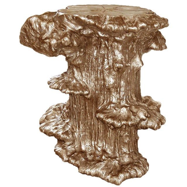 Cast Bronze Burled Side Table For Sale
