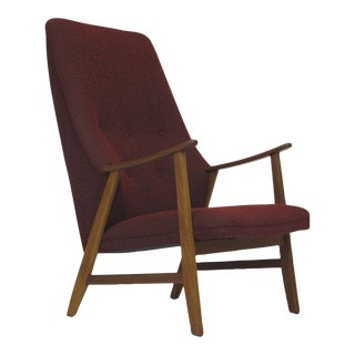 Mid-Century Teak Highback Lounge Chair in Red For Sale