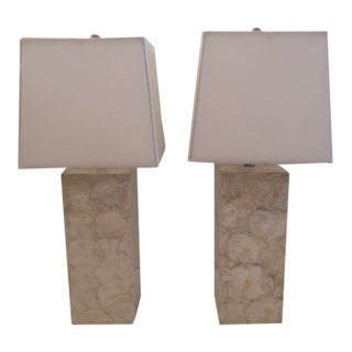Mother of Pearl Table Lamps - a Pair For Sale