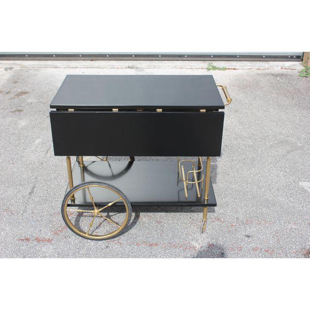 Brass Beautiful Maison Jansen Ebonized Drop-Leaf Bar Cart Circa 1940s For Sale - Image 7 of 13