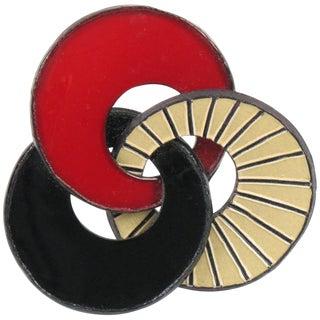 Cilea Paris Signed Modernist Geometric Talosel Resin Pin Brooch For Sale