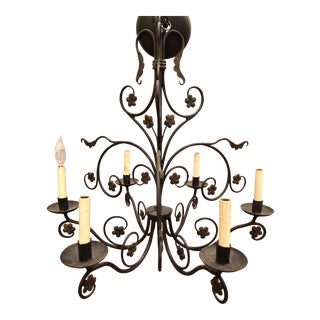 French Wrought Iron Hand Painted 6-Arm Floral Chandelier