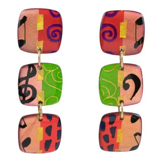 Italian Dangling Lucite Clip on Earrings Multicolor Harlequin Pattern For Sale