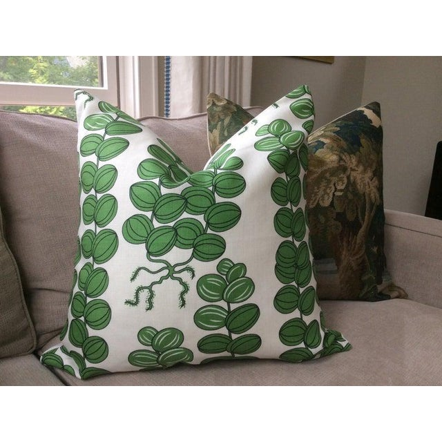 Mid-Century Modern Contemporary Svenskt Tenn for Josef Frank Emerald Green Celotocaulis Pillows - a Pair For Sale - Image 3 of 6