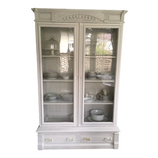Antique Storage Cabinet With Glass Doors For Sale