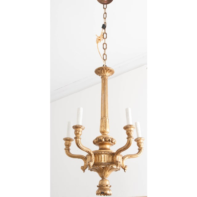 This classic Louis XVI-style five light chandelier c. 1860, is from France. Diminutive in proportion, it would be perfect...