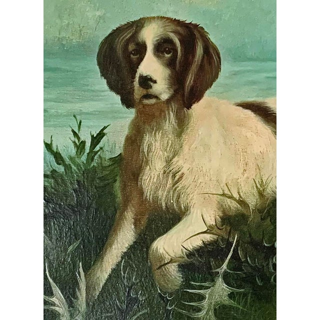 "Late 19th-Early 20th Century ""Hunting Dogs in Landscape"" American School Oil Painting on Canvas Signed For Sale - Image 4 of 7"