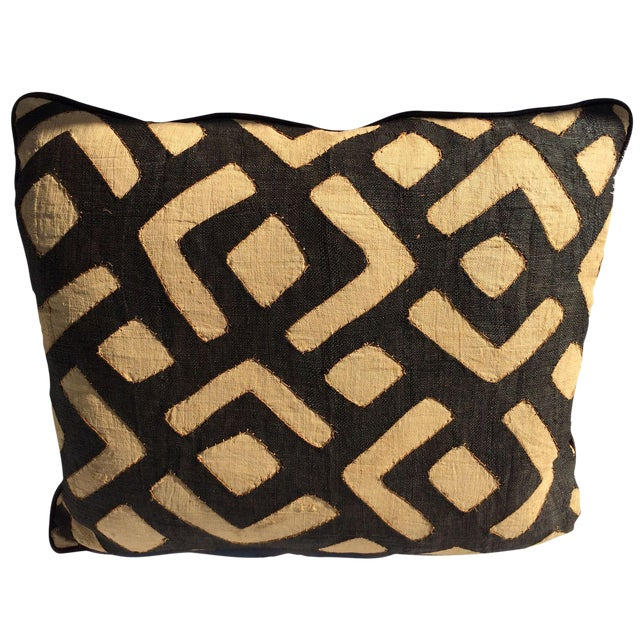 Designer Kuba Cloth & Italian Leather Pillow - Image 1 of 4