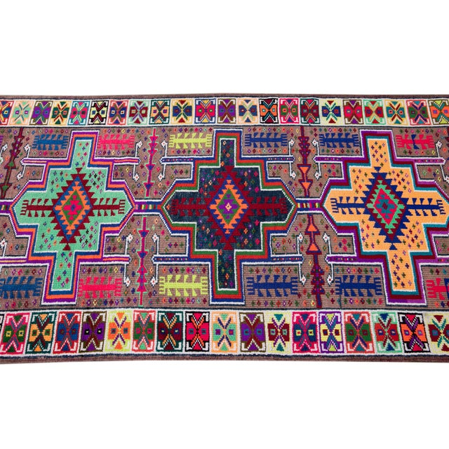 Purple Mid-20th Century Colorful Vintage Turkish Wool Runner Rug 3 X 13 For Sale - Image 8 of 12