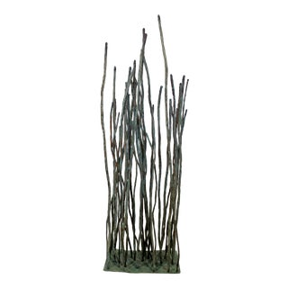 Contemporary Forged Painted Copper Metal Floor Sculpture Signed Bertoia Style For Sale