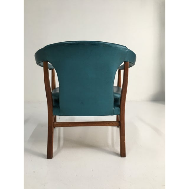 Mid-Century Walnut Ming Horseshoe-Style Slipper Armchair For Sale - Image 4 of 13