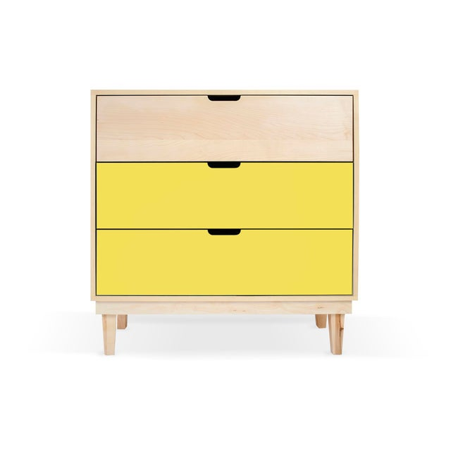 Not Yet Made - Made To Order Nico & Yeye Kabano Modern Kids 3-Drawer Dresser Solid Maple and Maple Veneers Yellow For Sale - Image 5 of 5
