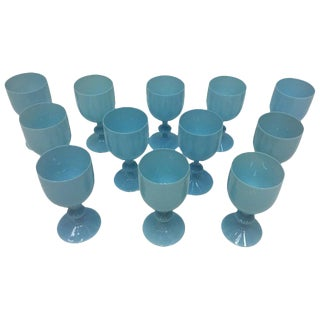 French Opaline Turquoise Goblets - Set of 12 For Sale