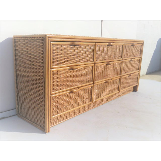 Contemporary Bamboo & Wicker 9-Drawer Dresser For Sale - Image 3 of 5