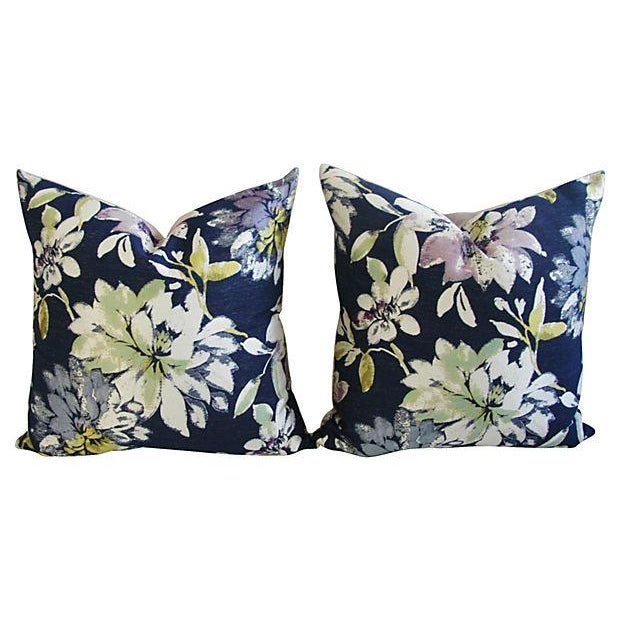 Custom French Floral Silk & Linen Pillows - A Pair - Image 7 of 7