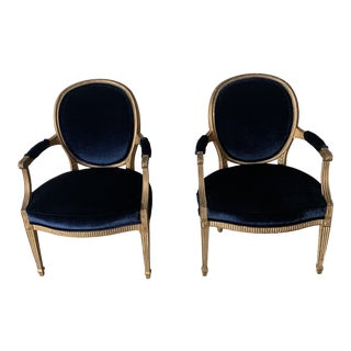 1990s Vintage French Fauteuils Louis XV Style Giltwood Chairs- A Pair For Sale