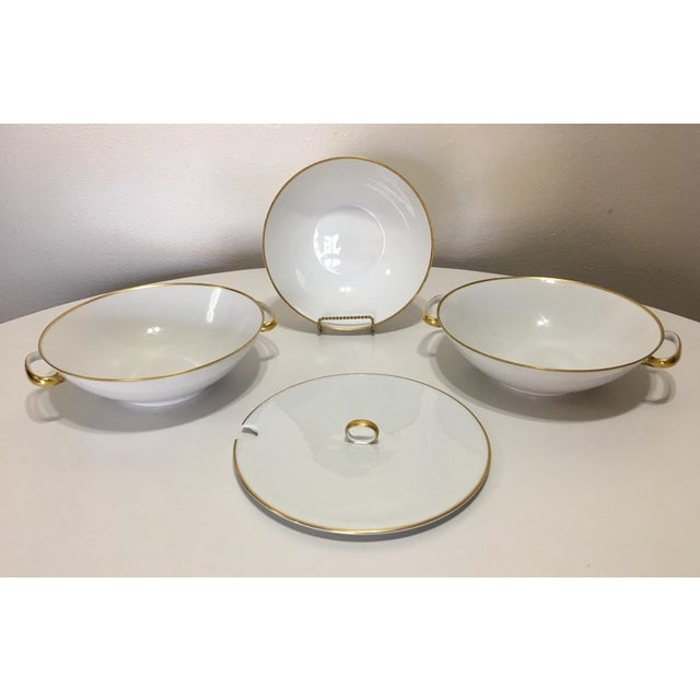 Pure White Porcelain With Gold Trim Serving Ware 28Pcs - Image 5 of 8