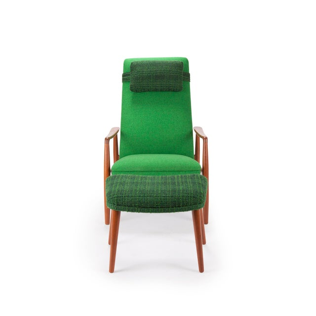 1950s Svend Langkilde for Sl Mobler Teak w/ Green Upholstered Danish Recliner Lounge Chair & Ottoman - Image 3 of 6