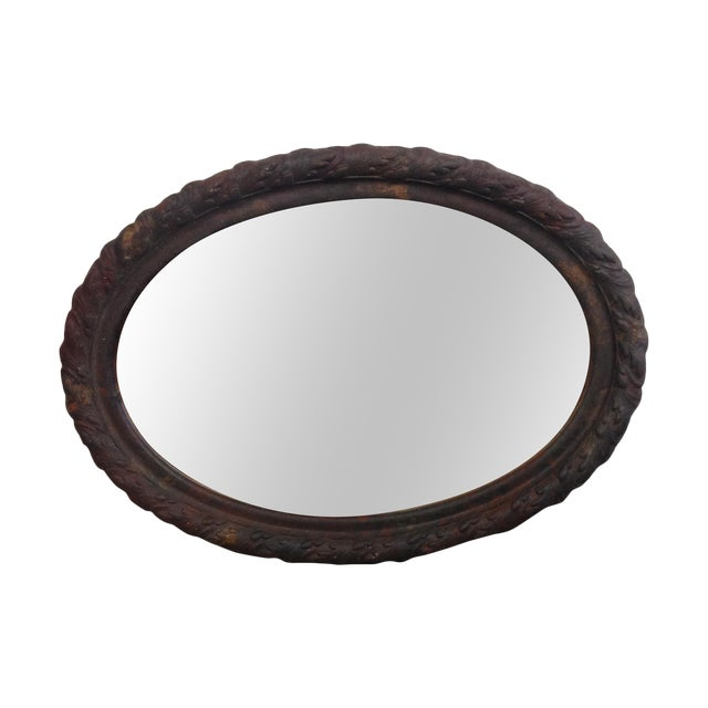 Rustic Vintage Metal Oval Framed Wall Mirror - Image 1 of 7