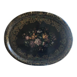 19th Century Victorian Hand Painted Floral on Black Lacquer Papier Mache Tray For Sale