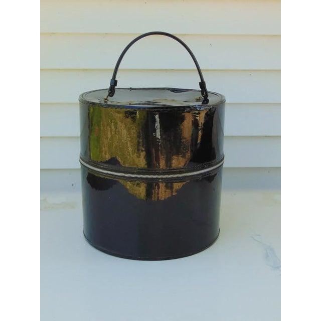 Hat Wig Box Vintage Round Suitcase Black Patent - Image 2 of 6
