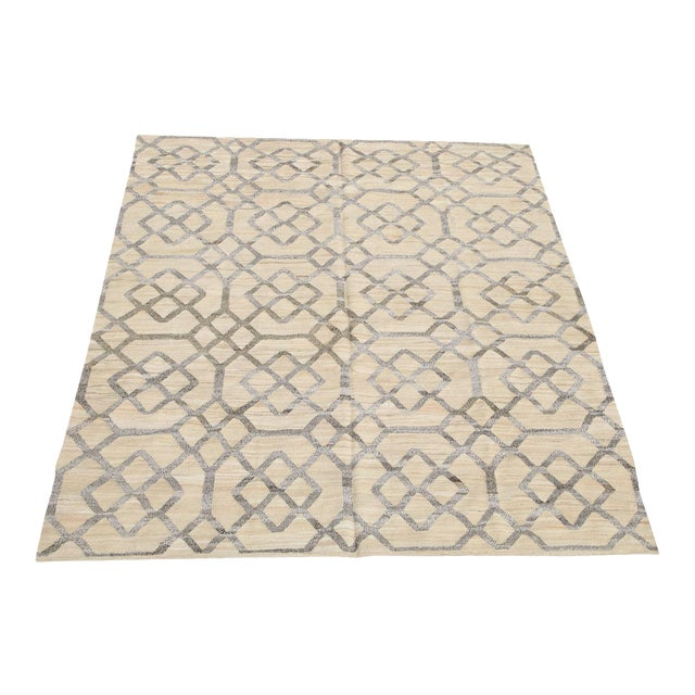 """Geometric Turkish Kilim Woven With Old Wool Rug - 9'11"""" X 8'2"""" For Sale"""