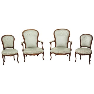 Louis Philippe Walnut Upholstered Chairs Circa 1890 - Set of 4 For Sale