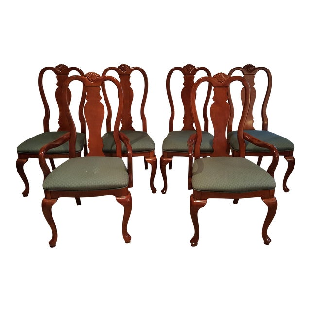 Queen Anne Dining Chairs - Set of 6 - Image 1 of 5