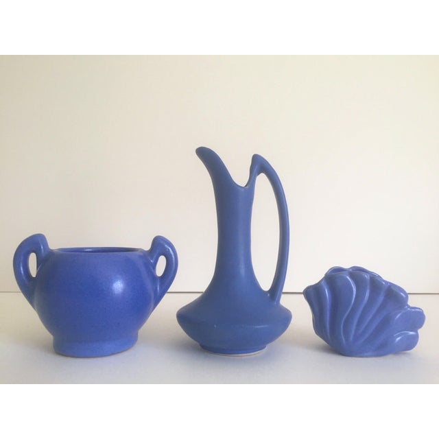 This collection of 3 pieces of vintage Art Deco 1930's Niloak rare royal blue matte art pottery pieces is a very special...
