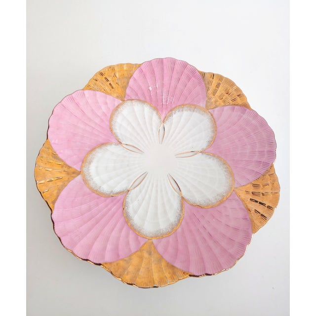 1940s Pink and Gold Scalloped Edge Shell Plate For Sale In Charleston - Image 6 of 7