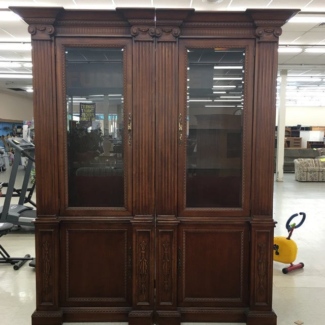 Extraordinary oversized mahogany wood storage cabinets, electrified , thick heavy glass shelves and antiqued brass...
