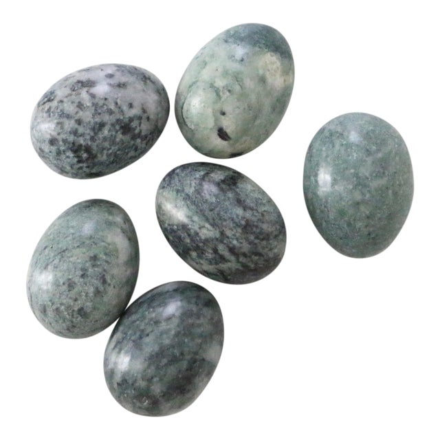 Green Decorative Stone Eggs - Set of 6 For Sale