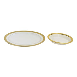 Lenox M139 Westchester Gold Encrusted China Serving Dishes - a Pair For Sale