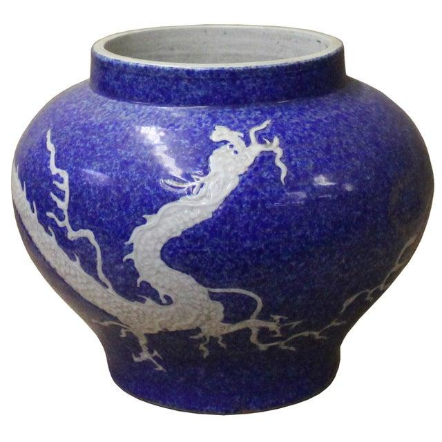 Ceramic Handmade Ceramic Blue White Dimensional Dragon Pattern Vase Jar For Sale - Image 7 of 8