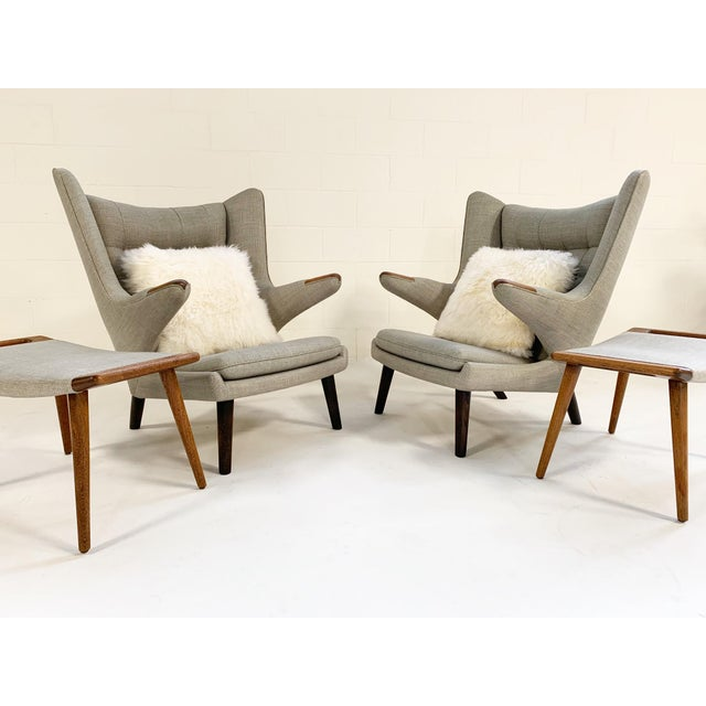 A.P. Stolen Important Pair of Hans Wegner for a.p. Stolen Papa Bear Chairs With Ottomans For Sale - Image 4 of 13