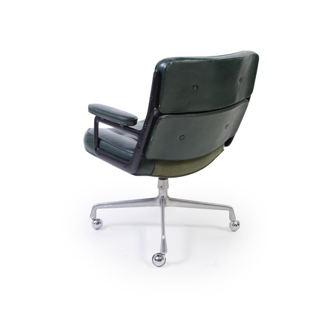 Herman Miller Eames Green Leather Time Life Chair for Herman Miller For Sale - Image 4 of 9