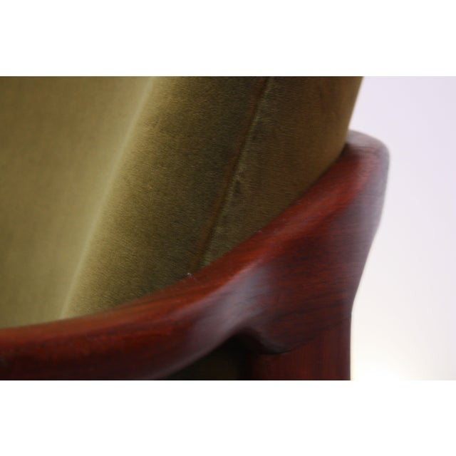 Mid-Century Italian Modern Sculpted Walnut and Velvet Lounge Chair For Sale - Image 10 of 13