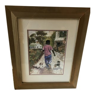 """Mid-Century """"Boy With His Dogs"""" Original Watercolor Painting For Sale"""