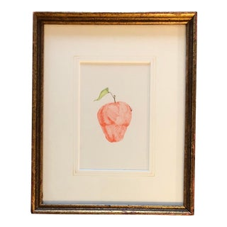 Vintage Original Miniature Apple Colored Ink Drawing For Sale