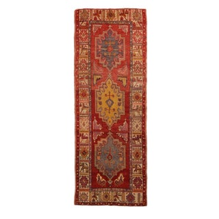 Vintage Anatolian Red and Yellow Geometric Wool Runner - 3′4″ × 9′3″ For Sale