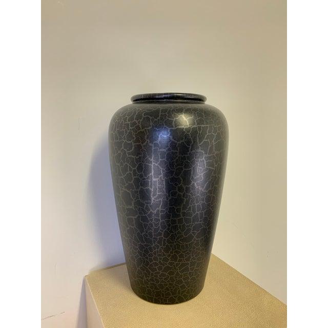 Stunning vintage large black German vase by Scheurich Keramik, signed. Beautiful attention to detail.