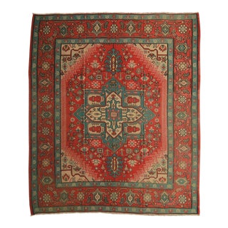 Vintage Hand Knotted Geometric Rug - 9' X 10' For Sale