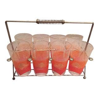 Orange Striped Glasses & Wire Rack - Set of 8