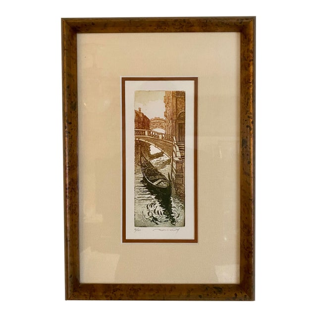 Vintage Italian Canal Houses Gondola Framed Ink & Watercolor Painting For Sale