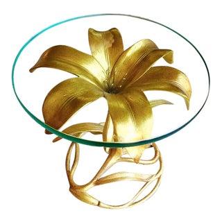 Arthur Court Gilded Lily Art Nouveau Side Table For Sale