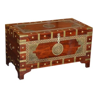 Handmade Wooden Trunk With Brass Accents For Sale